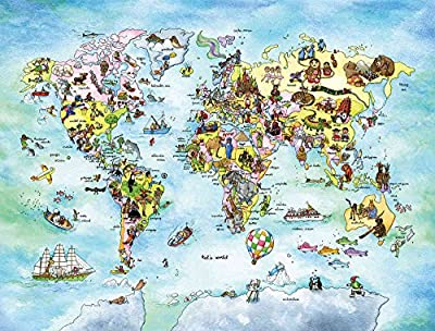 7.5-Feet Wide by 6-Feet High.Prepasted robust wallpaper mural from a photo of a:Fun World Map.A painting for children by Johanne Pepin.Our murals are easy to install remove and reuse.See our video.