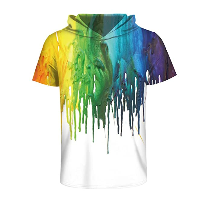 5f9bf95c26d6 Eaglebeky 3D lion Printed Pullover Sweatshirt Hoodie Short Sleeve Casual T Shirt  Galaxy Space Creative Graphic