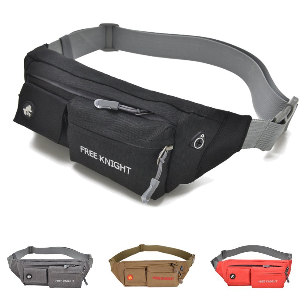 Samsung Galaxy S9 S8 Plus Note 8 Gray Adjustable Belt for Workout Vacation Hiking Running for iPhone X 8 7 Plus 6S 5 Ausion Waist Pack Bag Ultrathin Fanny Pack Pouch with 3-Zipper Pockets