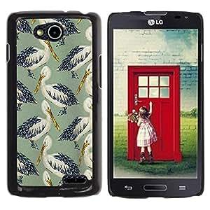 Be Good Phone Accessory // Dura Cáscara cubierta Protectora Caso Carcasa Funda de Protección para LG OPTIMUS L90 / D415 // Bird Stork Pattern Nature Painting