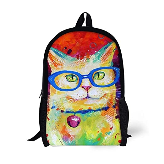 Blwz Mochila Escolar 3D Gato con Gafas Mochilas Informales ...