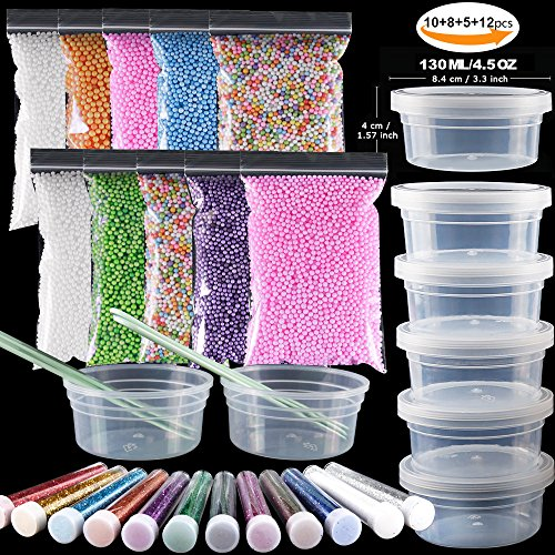 35 Pack Slime Making kit, Including 10 Pack Color Foam balls, 8 Pcs 4.5 oz Slime Containers, 12 Bottles Glitter Powder, 5 Pcs Glue Mixing Spoons for Slime Making Craft - Best Glue Foam