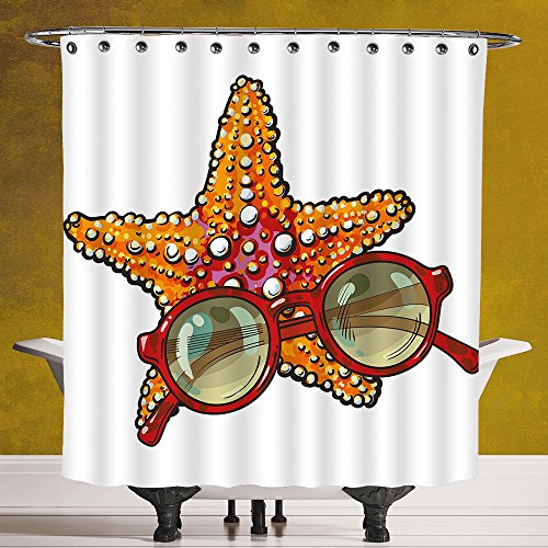 Unique Shower Curtain 3.0 by SCOCICI [ Starfish Decor,Hand Drawn Starfish and Round Sunglasses Tropical Summer Holiday Sketch Decorative,Multicolor ] Fabric Bathroom Decor Set with - Sunglasses Celebrity India