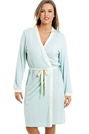 4b02063971 Camille Womens Ladies Stylish Knee Length Long Sleeve Mint Green Dressing  Gown  Camille  Amazon.co.uk  Clothing