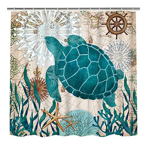 Bathroom Shower Curtain Sea Turtle Ocean Creature Landscape Shower Curtains Fabric Bathroom Curtain Durable Waterproof Bath Curtain Sets with 12 Hooks (Bathroom Sea Rug Turtle)