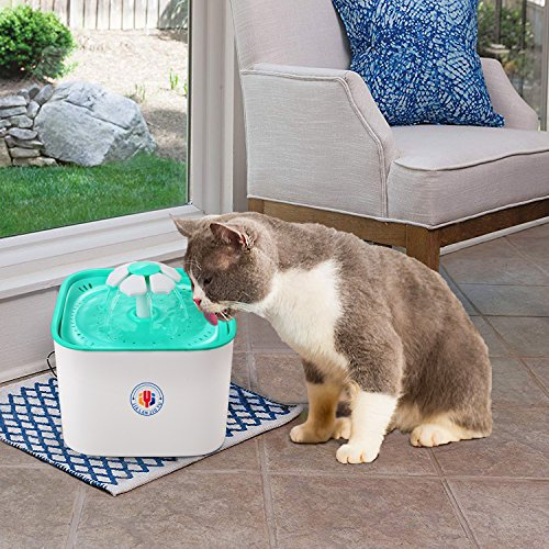 JIALANJIUYU Pet Water Fountain Cat Dogs Water Dispenser Healthy and Hygienic Drinking Fountain 2L Super Quiet Flower Automatic Electric Water Bowl with 2 Replacement Filters for Dogs Cats Birds