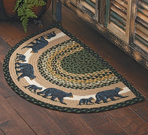 Black Forest Décor Mama Black Bear & Cub Half-Round Braided Rug