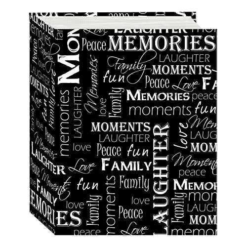 Pioneer Photo Albums A4-100 100 Pocket Mini-Max Album Hold 4x6 Photos, Black & White Words, 4 x 6 Black and White