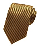 Elfeves Yellow Bronze Silk Tie Formal Dress Necktie Decent Holiday Gifts for men