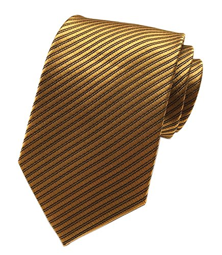 Elfeves Yellow Brass Bronze Silk Tie Formal Dress Necktie Decent Holiday Gifts for men