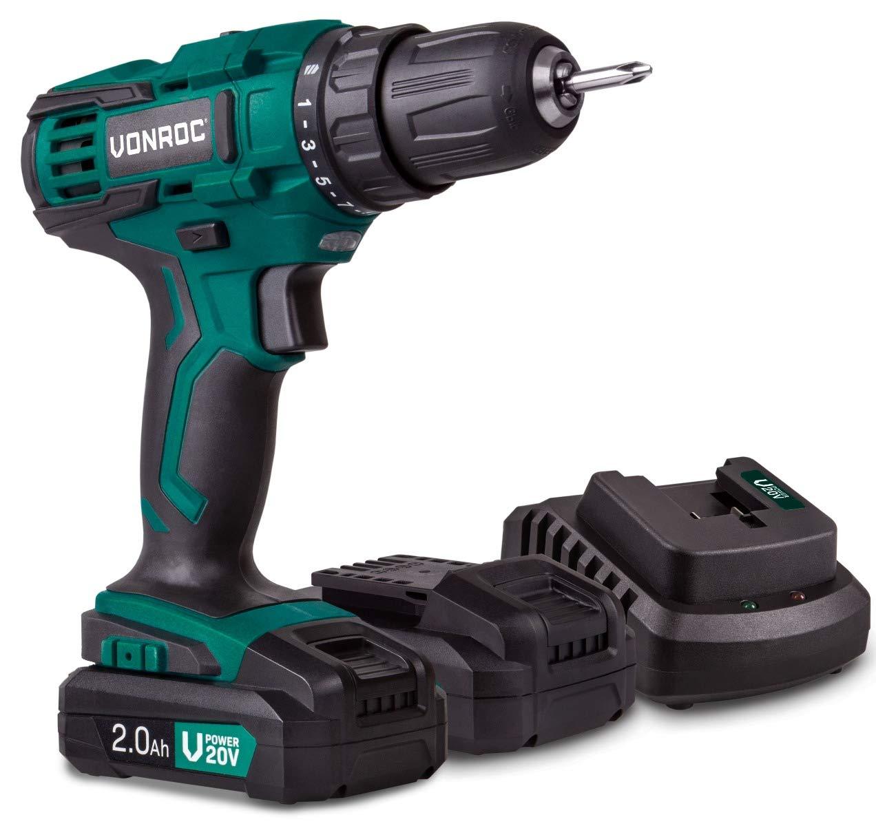 Incluye puntas y bolsa de almacenamiento VONROC No incluye bater/ía ni cargador Taladro inal/ámbrico VPower 20V