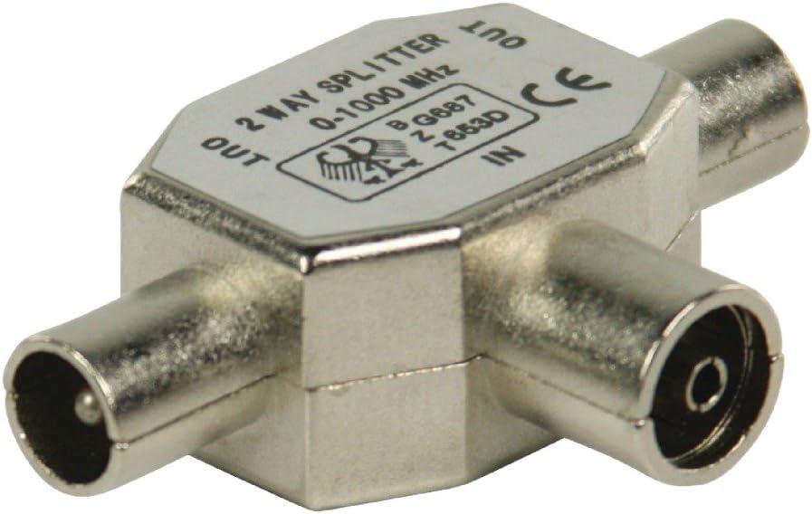 Koaxialbuchse auf 2X Koaxialstecker Valueline Metall Koaxial-T-Splitter
