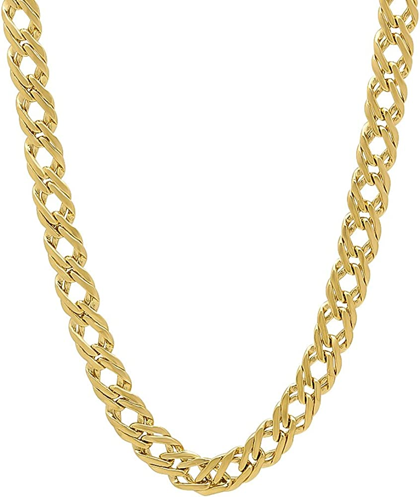 The Bling Factory 5mm 0.25 mils (6 microns) 14k Yellow Gold Plated Venetian Chain Necklace, 7'-30 + Jewelry Cloth & Pouch