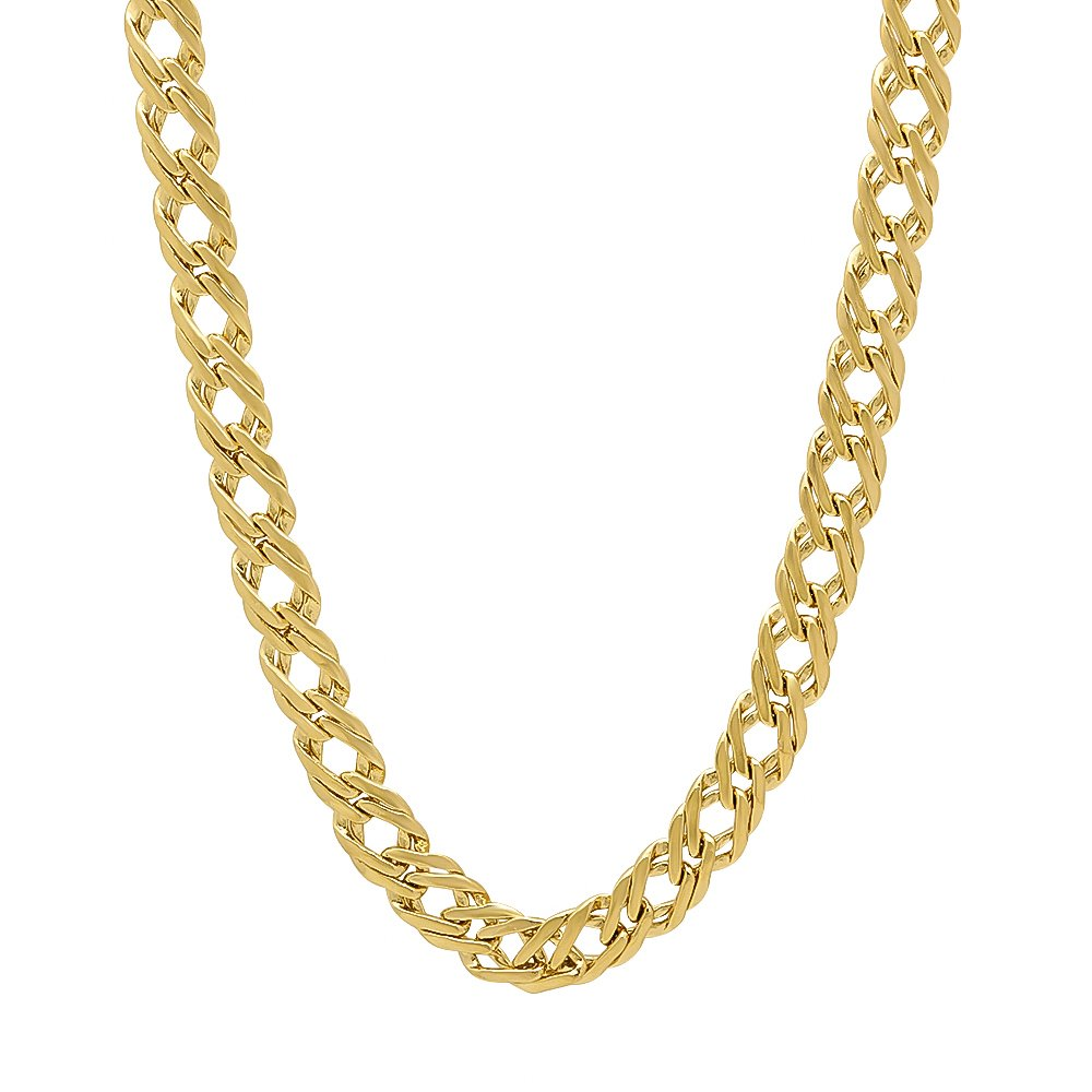 The Bling Factory 5mm 14k Gold Plated Venetian Chain Necklace, 16'' + Microfiber Jewelry Polishing Cloth