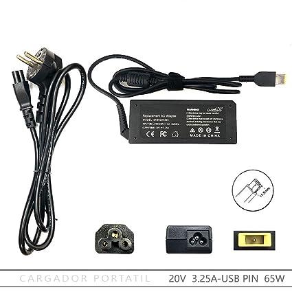 FOXLIVE Cargador Lenovo 20V 3.25A 65W USB Pin: Amazon.es: Electrónica