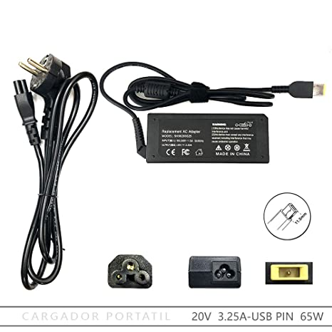 FOXLIVE Cargador Lenovo 20V 3.25A 65W USB Pin: Amazon.es ...