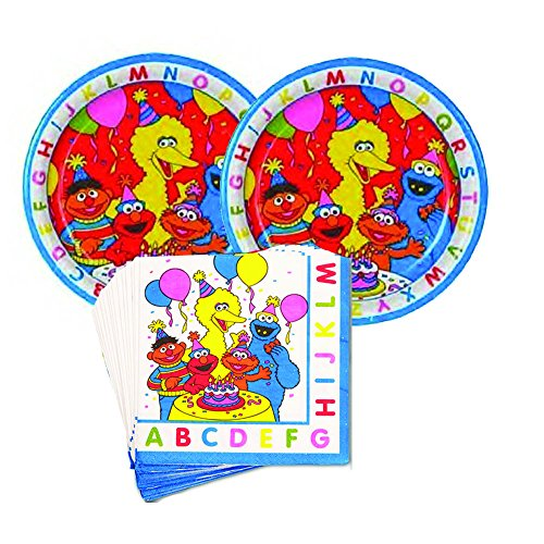 Sesame Street ABC birthday Party Supplies - 16 guests - cake plates and napkins ()