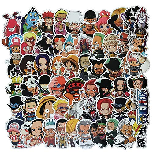 Homyu Stickers 60-Pcs PVC Decals One Piece Anime Cartoon Waterproof Sunlight-Proof DIY Ideals for Cars Motorbikes Skateboard Spinner Luggages Laptops
