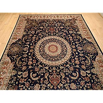 Luxury Silk Persian Area Rugs Navy Living Room 8x12 Traditional 8x11 Dining