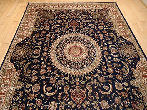 Luxury Silk Persian Area Rugs Navy Living Room Rugs 8x12 Area Rugs Navy Traditional 8x11 Dining Room Rug Silk Tabriz Design Low Pile