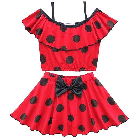 6baa23372da41 Amazon.com: Adagod Toddler Baby Girl Red Swimwear Black Dot Bow Kont ...