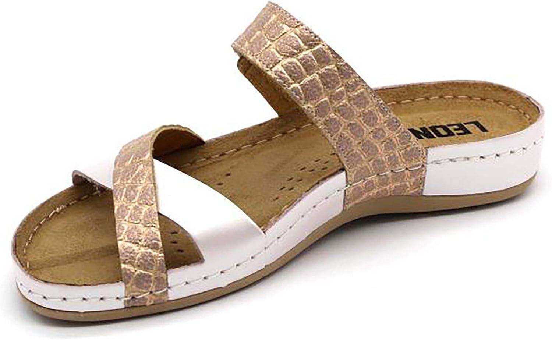 LEON 957 Sandalias Zuecos Zapatos Zapatillas de Cuero para Mujer