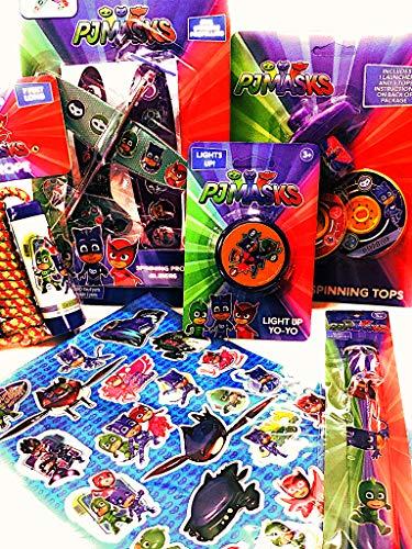PJ Masks Party Supplies Toys Bundle - 6 Items; Prop Gilders, Jump Rope, Yo-Yo, Spinning Tops, Slap Bracelet & Stickers