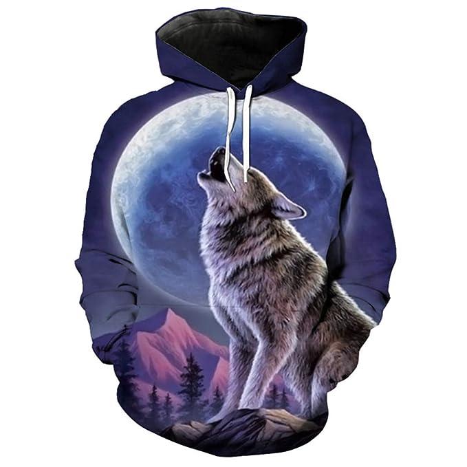 Sudadera con Capucha 3D Moon Snow Mountain Howling Wolf con Capucha de Moda para Hombre: Amazon.es: Ropa y accesorios