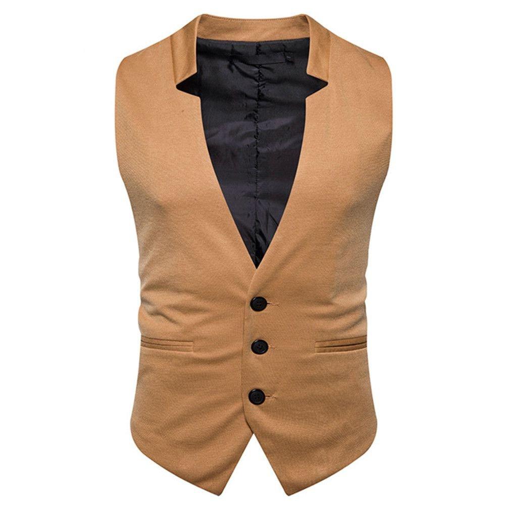 Männer - Weste, männer - Casual - Mode - Anzug, Weste, Geschäft - Anzug, Weste,Khaki,XL