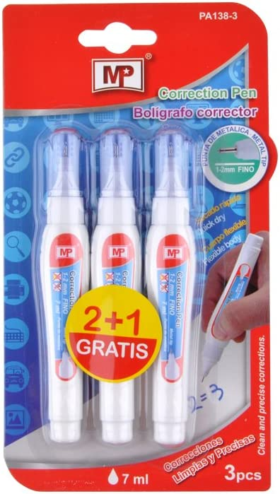 MP PA138-3 - Pack de 3 bolígrafos correctores: Amazon.es: Oficina ...