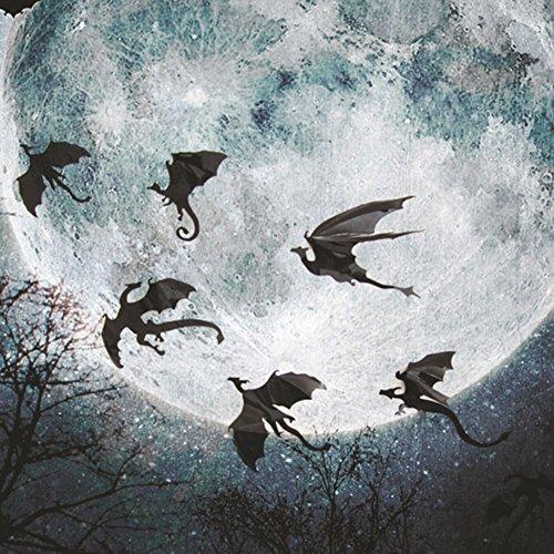 ZCON 7Pcs/Set Halloween Flying Dragon Gothic DIY Fantasy Wall Art Decals Decoration - Black -