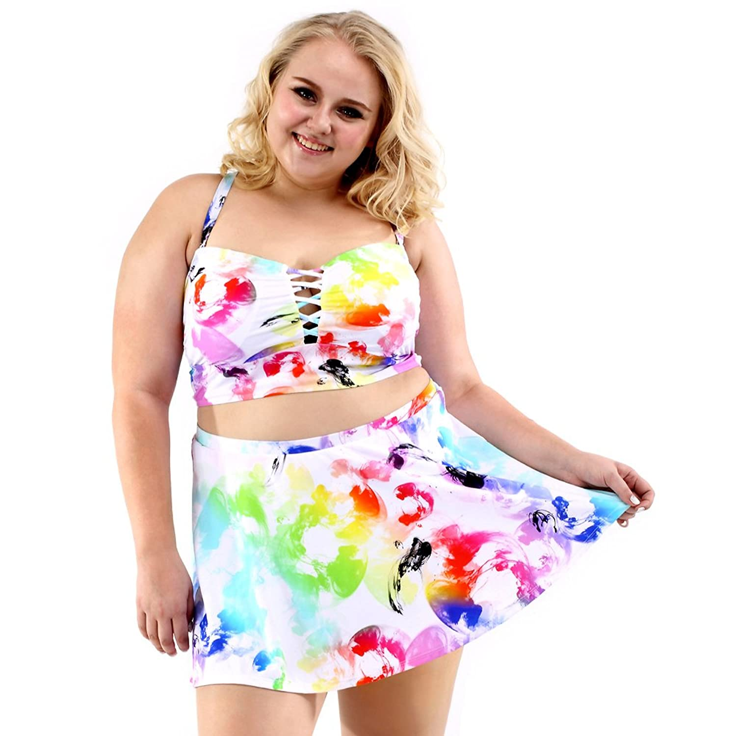 4f11e6074e539 Two-piece lace up deep-V top, high waist flounce shirted swimsuit and 2018  summer coloring style you appealing to the eye whenever & wherever.