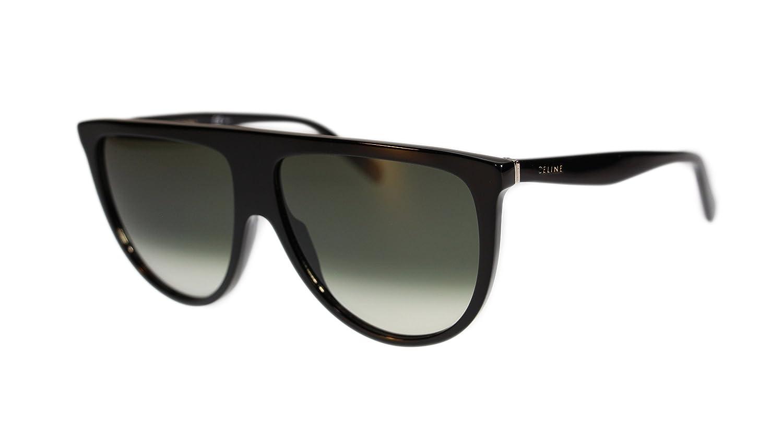 1e8f890fc670 Celine Thin Shadow Womens Sunglasses CL41435 807 Black Green Gradient Lens  Round  Amazon.co.uk  Clothing