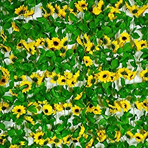 Artificial Sunflower 8.5 Feet/piece Fake Flower Hanging Vines Greenery Garland Silk Plant Leaves String Green Leaves Vines for Home Hotel Office Garden Wedding Party Outside Decoration(4 Pcs) 9