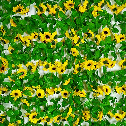 4 Pcs 8.5 Feet/piece Artificial Sunflower Hanging Vines Fake Flower Greenery Garland Silk Plant Leaves String Green Leaves Vines for Home Hotel Office Garden Wedding Party Outside Decoration