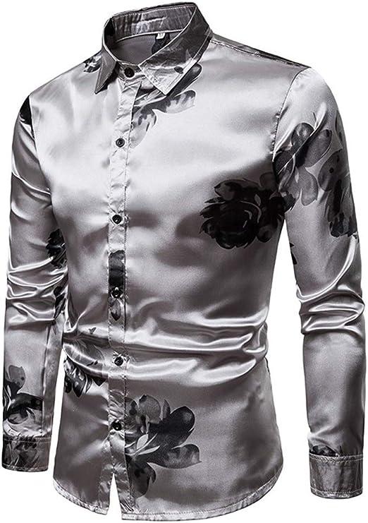 Camisa de vestir slim fit para hombre Masstone para hombre Impresión floral de graffiti Metálico Brillante
