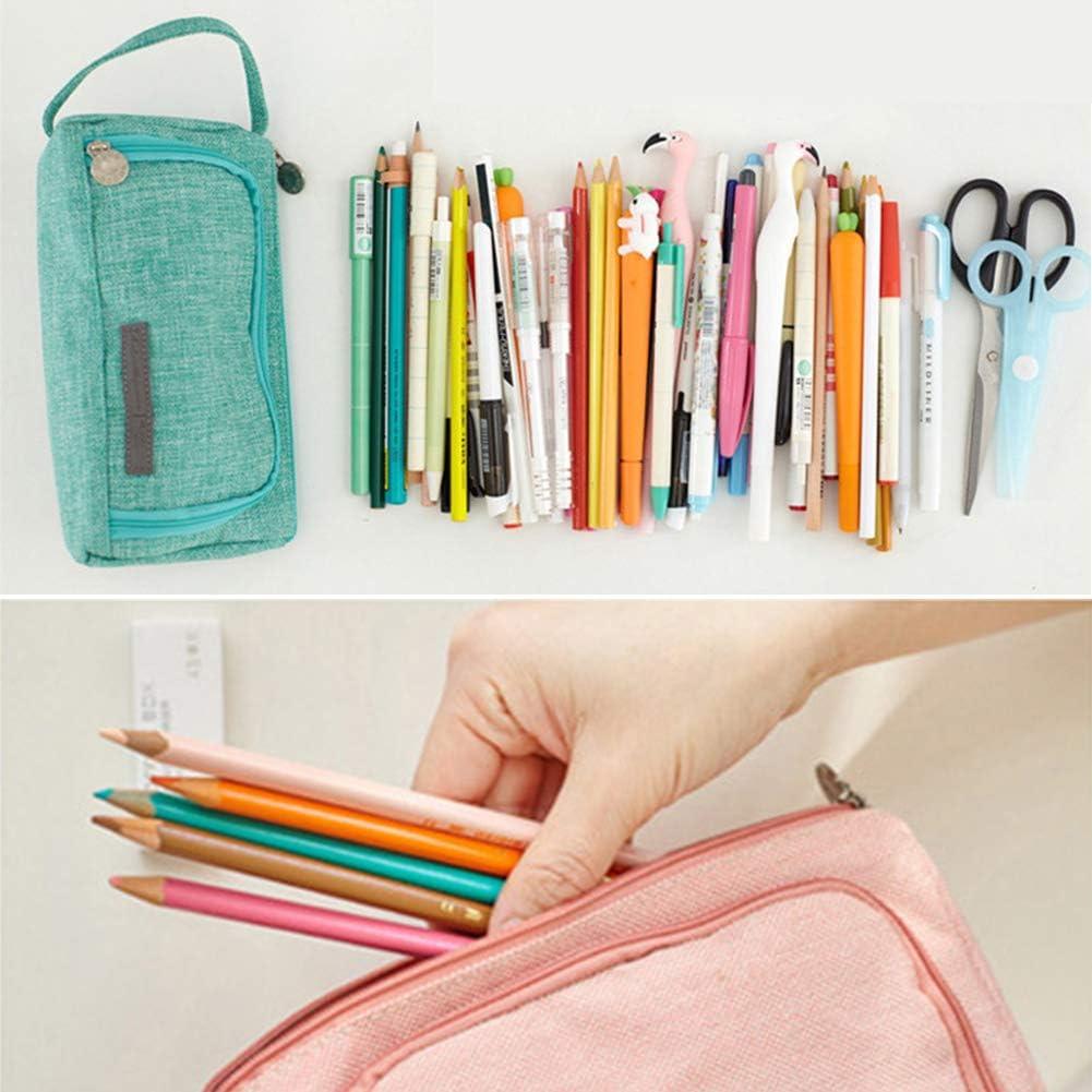 Estuche para lápices, gran capacidad, estuche para lápices con asa, bolsa de almacenamiento de lona, estuche para lápices y bolígrafos, bolsa de maquillaje portátil para niñas/niños/mujeres rosa: Amazon.es: Hogar