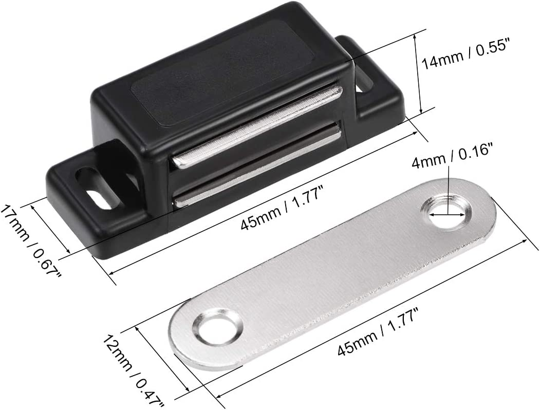 uxcell Cabinet Door Brown Metal Single Magnetic Catch Latch 58mm Length