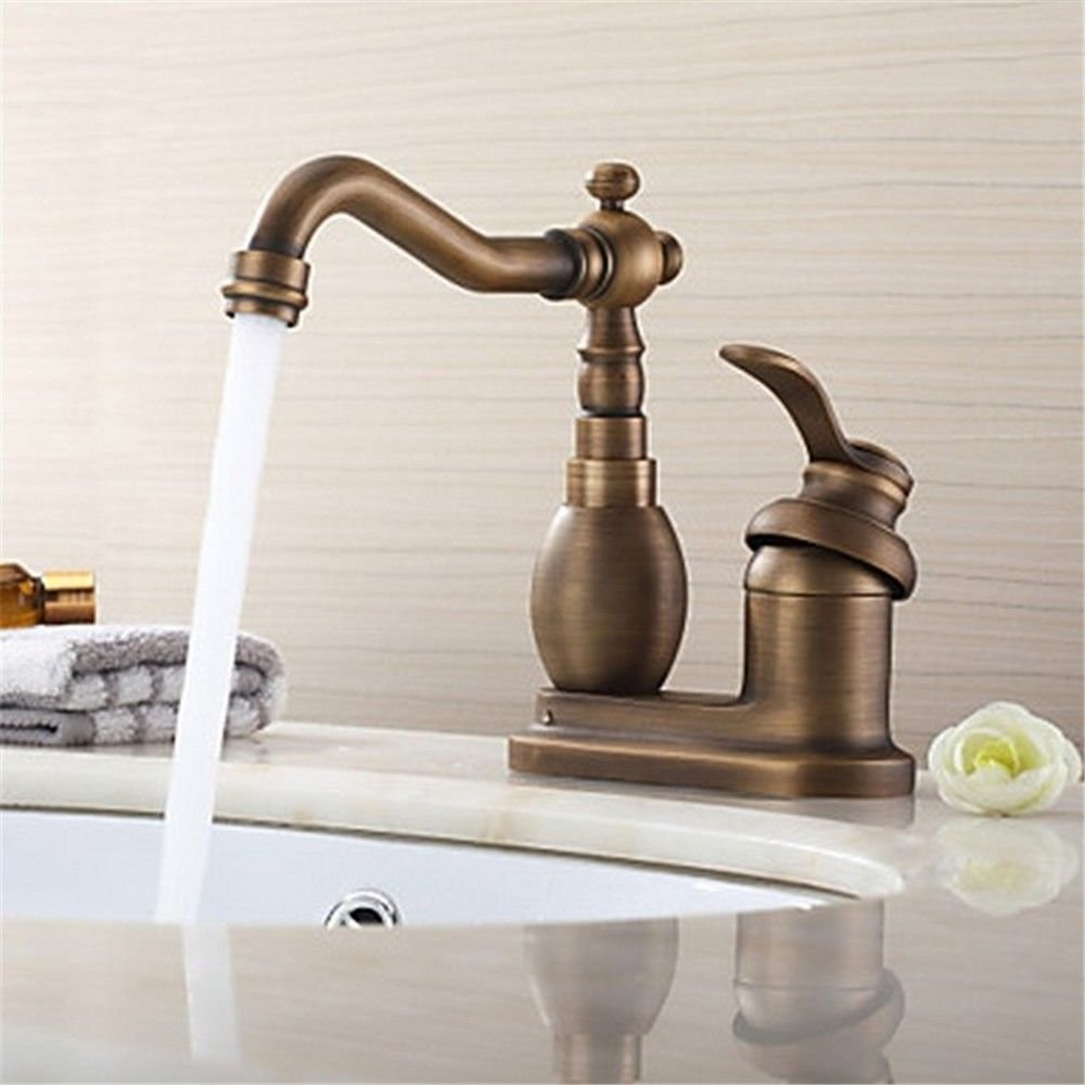 ETERNAL QUALITY Bathroom Sink Basin Tap Brass Mixer Tap Washroom Mixer Faucet Antique brass twin single handle two hole ceramic valve cold water bathroom basin mixer Kitc