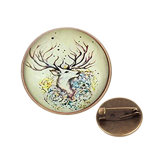 e2c37dd564e Amazon.com  Pinback Buttons Badges Pins Deer Art Picture Silver Color Lapel  Pin Brooch Clip Trendy Accessory Jacket T-Shirt Bag Hat Shoe  Jewelry