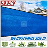 ColourTree 5' x 50' Blue Fence Privacy Screen Windscreen, Commercial Grade 170 GSM Heavy Duty We Make Custom Size