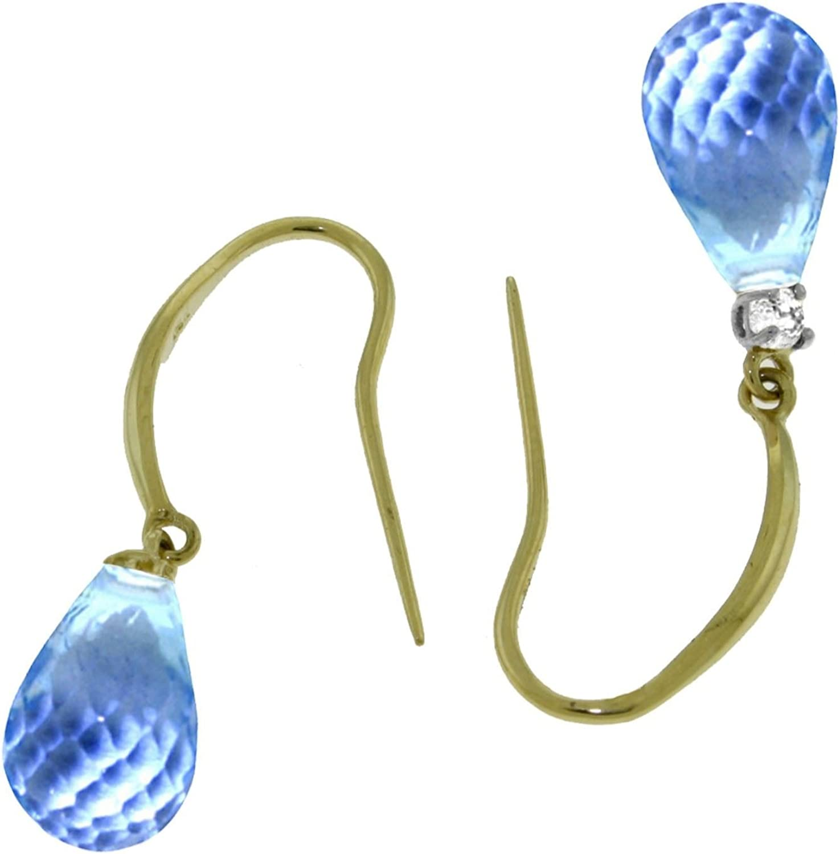 ALARRI 4.6 Carat 14K Solid Gold Joya Blue Topaz Diamond Earrings