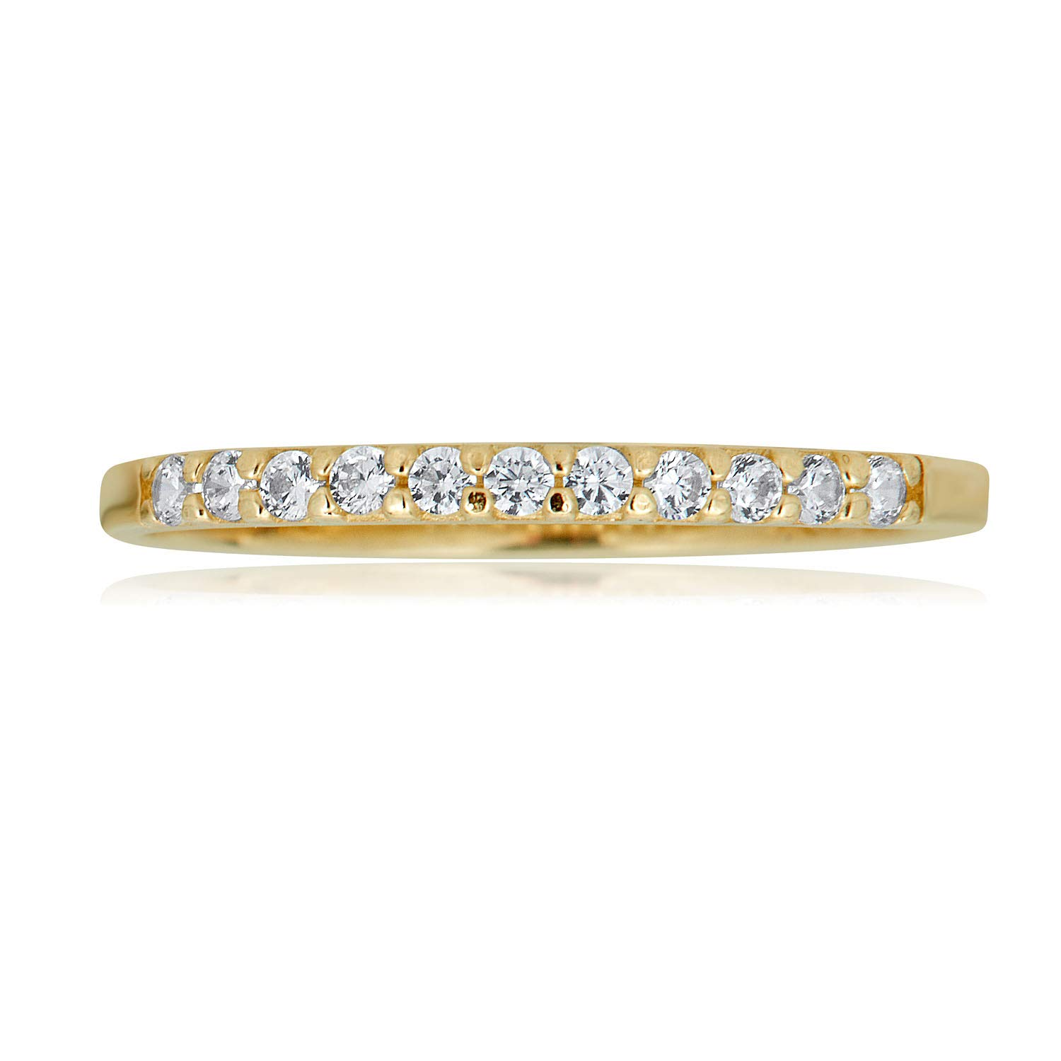 AVORA 10K Yellow Gold Simulated Diamond CZ Half Eternity Band Stackable Ring by AVORA (Image #2)