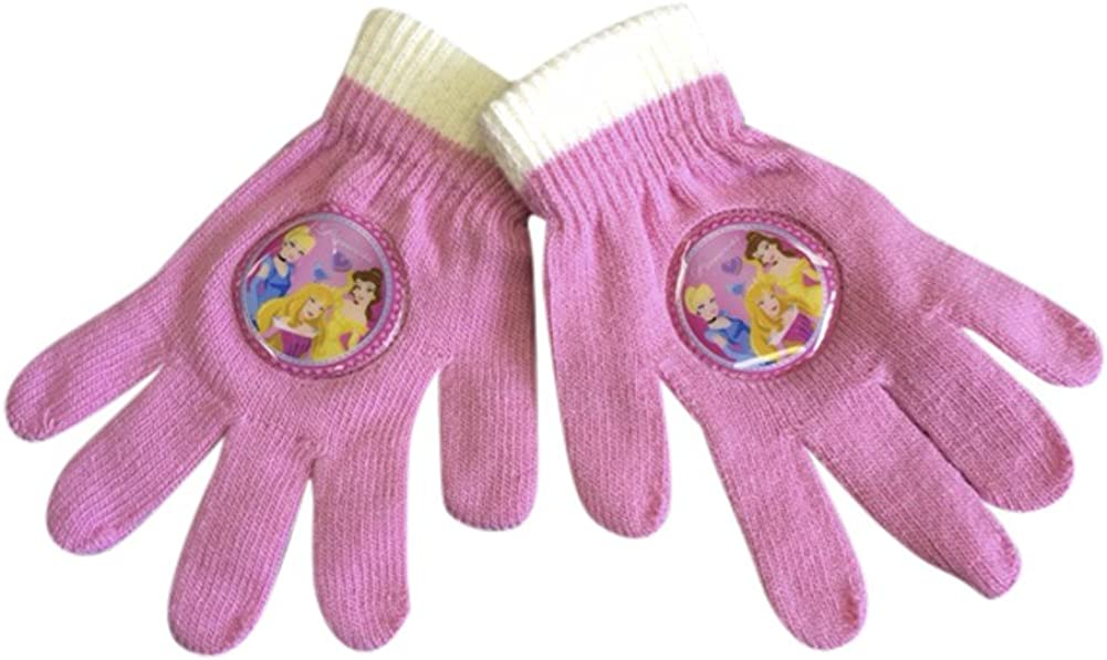 Girls//Childrens Warm Winter Gloves in Cerise Purple and Light Pink for 4-8 years