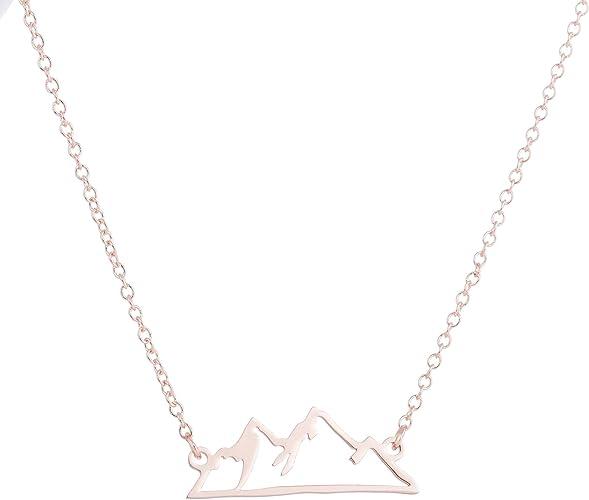 HUNO Collar Minimalista de montaña Nevada para Senderismo, montaña, Pico, Colgantes, Joyas, Escalada, Naturaleza, Amantes, Regalos