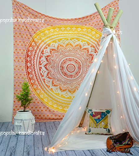 Popular Handicrafts  Fire Ombre Hippie Mandala Bohemian Psychedelic tapestry wall
