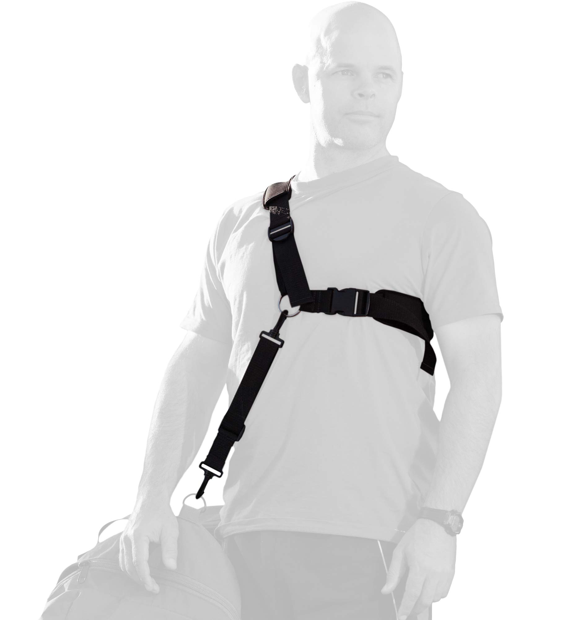 Ergonomic bag strap eases back pain, neck pain, shoulder pain. Provides lumbar support and back support. Enhances benefits of back braces and belts. by Ogre