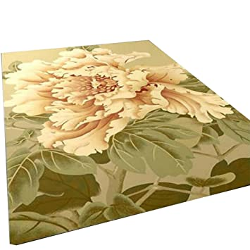Rollsnownow Alfombras modernas alfombras Alfombras de la puerta Alfombrillas de café Material mullido amarillo claro Flores ...