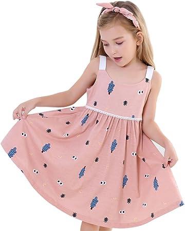 Pijamas Pijama de niña Camisón de niña Pijamas sin Mangas de Verano de algodón de Las Muchachas Pijamas de niños Ropa de casa de algodón bebé (Color : Pink, Size : 150cm):