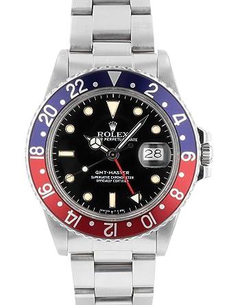 2e76d388c2 [ロレックス] ROLEX 腕時計 アンティーク 16750 GMTマスター フチあり ブラック文字盤 赤/